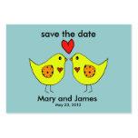 los pájaros del amor ahorran la tarjeta de fecha plantilla de tarjeta de negocio