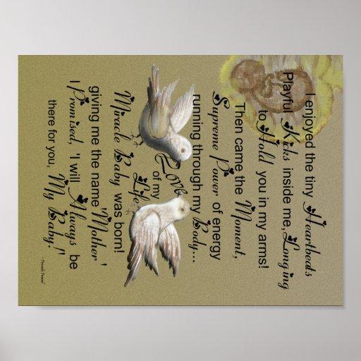 Los pájaros del amor - bebé llevado - madre son póster