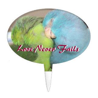 Los pájaros del amor de Parrotlet aman nunca falla Figuras Para Tartas