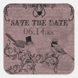 Los pájaros del amor del boda ahorran a los pegatinas cuadradas
