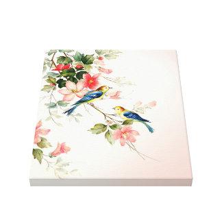 Los pájaros del amor del vintage el | se ruborizan impresión de lienzo
