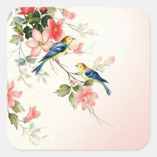 Los pájaros del amor del vintage el | se ruborizan pegatina cuadrada
