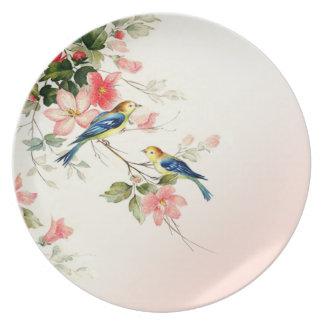 Los pájaros del amor del vintage el | se ruborizan plato de cena
