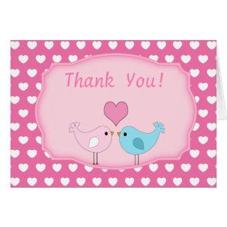 Los pájaros del amor le agradecen cardar tarjeta de felicitación