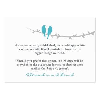 Los pájaros del amor manan deseando la tarjeta tarjetas de visita grandes