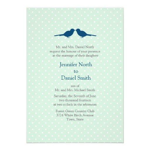 Los pájaros del amor y el boda blanco de la menta  invitación personalizada
