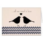 Los pájaros del amor zigzaguean felicitaciones
