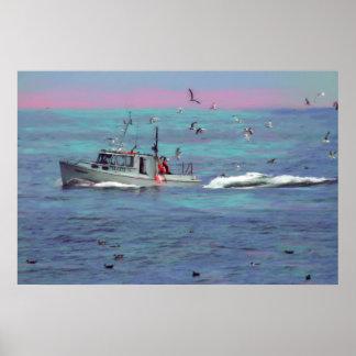 Los pájaros del barco de pesca, impresión superior póster