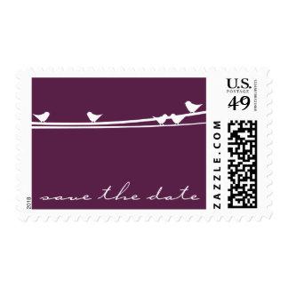 Los pájaros en un alambre ahorran el franqueo de sello