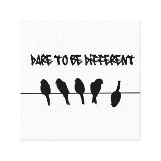 Los pájaros en un alambre - atrévase a ser diferen impresión en lona estirada