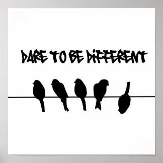 Los pájaros en un alambre - atrévase a ser diferen posters