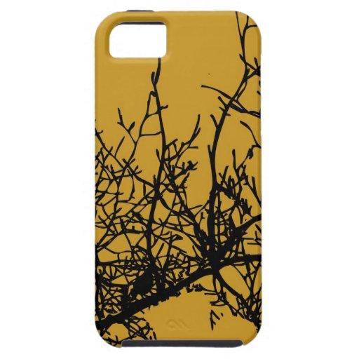 Los pájaros en un árbol ennegrecen el gráfico en funda para iPhone 5 tough