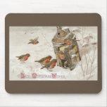 Los pájaros encuentran el refugio en navidad del v alfombrilla de ratones