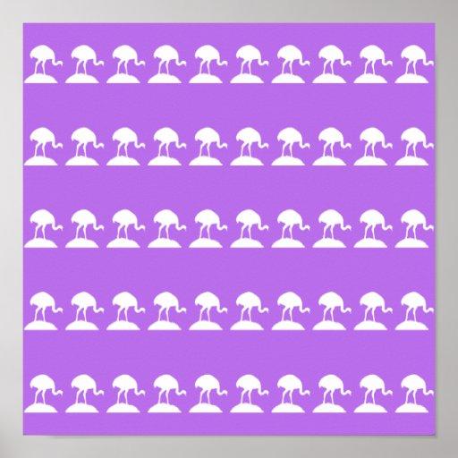 Los pájaros modelan, púrpura posters