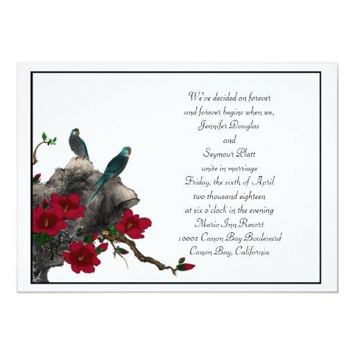 Los pájaros n florecen la invitación del boda con