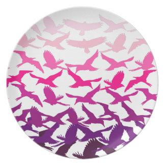 Los pájaros - rosa plato para fiesta