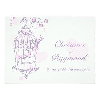 Los pájaros rosados púrpuras abren la invitación