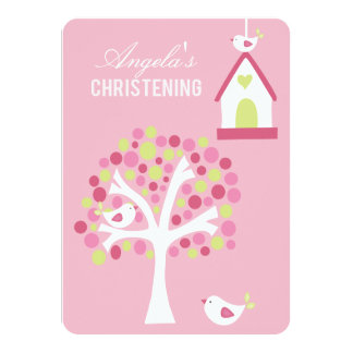 """Los pájaros rosados y el bautizo del bautismo del invitación 4.5"""" x 6.25"""""""