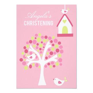 """Los pájaros rosados y el bautizo del bautismo del invitación 5"""" x 7"""""""
