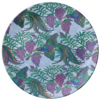 Los pájaros salvajes Mano-Colorearon la placa de Plato De Cerámica