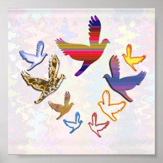 Los PÁJAROS VUELAN - el arte $8 - $15 del kidsroom Póster