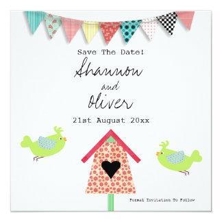 """Los pájaros y el Birdhouse caprichosos lindos Invitación 5.25"""" X 5.25"""""""