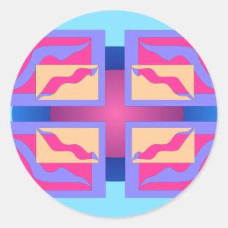 Los paneles abstractos coloridos pegatina redonda