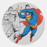 Los paneles cómicos del superhombre etiqueta