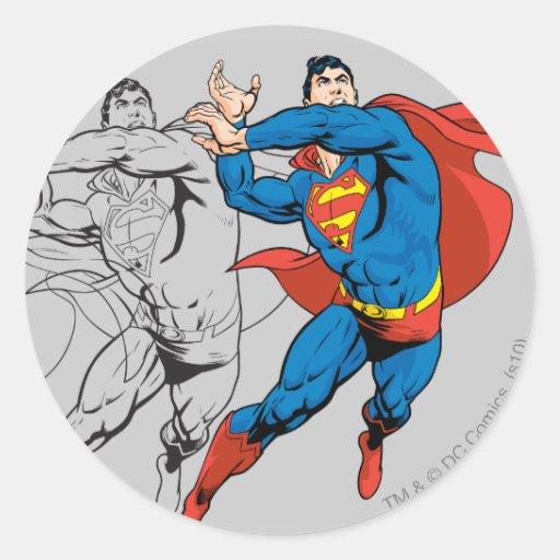 Los paneles cómicos del superhombre pegatina redonda