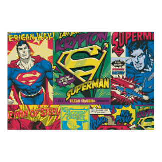 Los paneles cómicos del superhombre póster