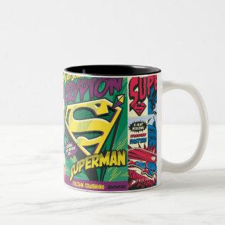 Los paneles cómicos del superhombre taza de dos tonos