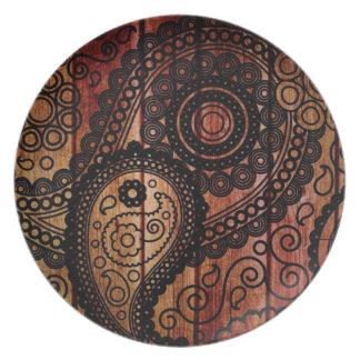 los paneles de madera de Paisley Platos Para Fiestas