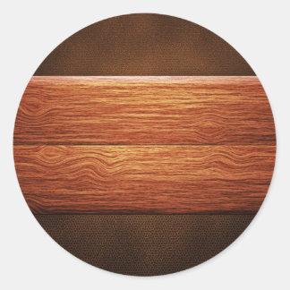 Los paneles de madera en superficie coriácea pegatina redonda