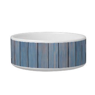 los paneles de madera pintados azul tazón para agua para gatos