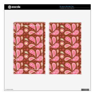 Los paneles de Paisley rosada Pegatina Skin Para Kindle Fire