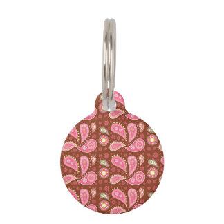 Los paneles de Paisley rosada Placa De Mascota