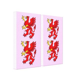 Los paneles envueltos grifo rojo del arte de la lo