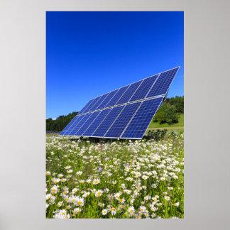Los paneles solares y prado verde póster