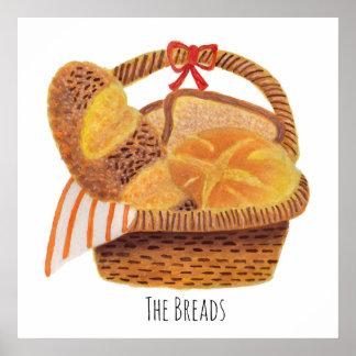 Los panes en la cesta posters