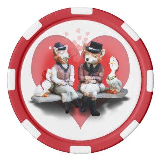 Los pares astutos (con el fondo del corazón) juego de fichas de póquer