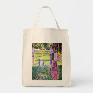 Los pares de Jorte Seurat, Pointillism del vintage Bolsa Tela Para La Compra