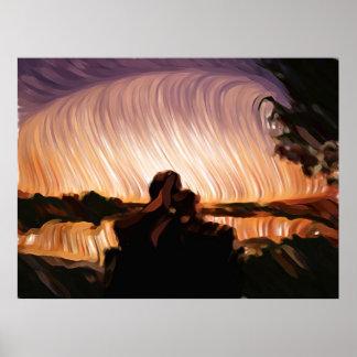 Los pares de la puesta del sol póster