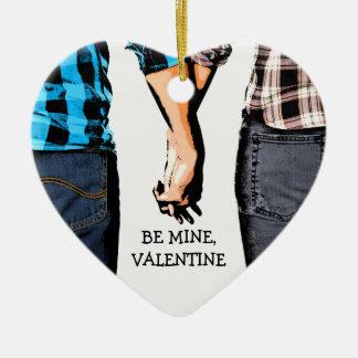 Los pares de la tarjeta del día de San Valentín Adorno De Cerámica En Forma De Corazón