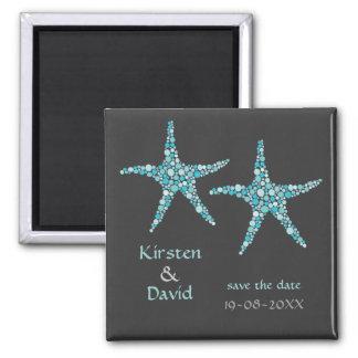 Los pares de las estrellas de mar de la aguamarina iman de nevera