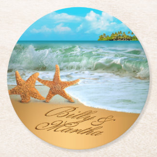 Los pares de las estrellas de mar de Martha PIDEN Posavasos Personalizable Redondo