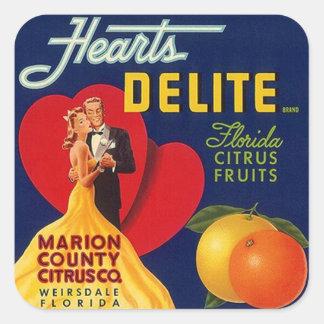 Los pares de los corazones del vintage del anuncio pegatina cuadrada