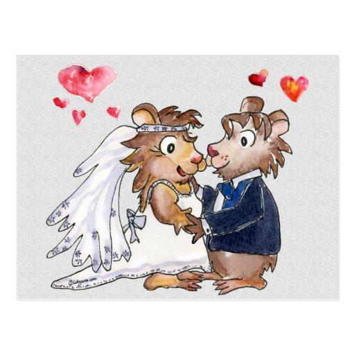 Los pares del boda del dibujo animado ahorran las  postal