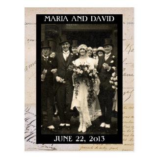 Los pares del boda del vintage ahorran la postal