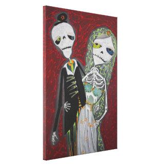 Los pares del boda/Dia De Los Muertos/envolvieron  Impresión En Lona Estirada