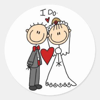 Los pares del boda hago las camisetas y los pegatina redonda